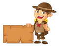 Boy scout cartoon holding blank sign