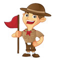 Boy scout cartoon holding flag