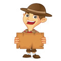Boy scout cartoon holding map