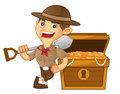 Boy scout cartoon leaning on treasure