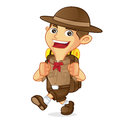 Boy scout cartoon walking and carrying backpack