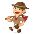 Boy scout cartoon walking and carrying flag