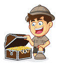 Boy scout or explorer boy with a treasure chest vector clipart picture of cartoon character Stock Photography