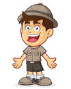 Boy scout or explorer boy in welcoming gesture vector clipart picture of a cartoon character Stock Photography