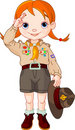 Boy scout girl doing a hand sign Stock Photos