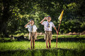 Boy scout making an oath, asia Royalty Free Stock Photo
