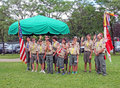 Boy scouts posing for a group photo after the th of july ceremony livingston nj Royalty Free Stock Photography