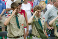 Boy Scouts saluting 76 new American citizens Royalty Free Stock Photography