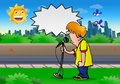 Boy scream illustration of a on the microphone on a city background with bubble text Stock Photo