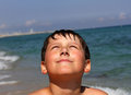 Boy on the sea cute beach Stock Photography