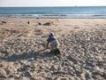 Boy on the sea shore Royalty Free Stock Photo