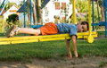 Boy on the seesaw Royalty Free Stock Photo