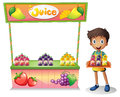 A boy selling fruit juices illustration of on white background Stock Image