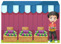 A boy selling grapes illustration of on white background Royalty Free Stock Images