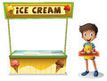 A boy selling ice cream for summer illustration of on white background Stock Photos