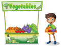 A boy selling vegetables illustration of on white background Stock Photo