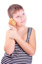Boy and a shell. Royalty Free Stock Photo