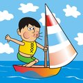 Boy and ship Royalty Free Stock Photo