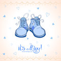 Boy shoes illustration baby shower blue Stock Photos
