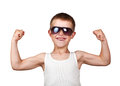 Boy showing his muscles isolated on white Royalty Free Stock Photo
