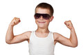 Boy showing his muscles isolated on white Stock Image