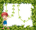 A boy showing the leafy frame with vine plants illustration of Stock Photos