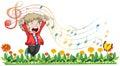 A boy singing at the garden