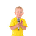 Boy sings with microphone Royalty Free Stock Photo