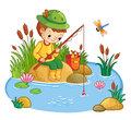 The boy sits and catches fish in a pond. Royalty Free Stock Photo