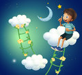 A boy sitting at the cloud illustration of Stock Image