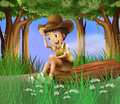 A boy sitting at the log illustration of Royalty Free Stock Image