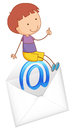 A boy sitting on mail envelop Royalty Free Stock Photos