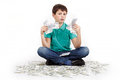 Boy sitting on money concept how to be successful isolated white background Royalty Free Stock Images
