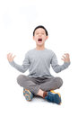 Boy sitting and scream over white Royalty Free Stock Photo