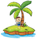 A boy sitting under the coconut tree illustration of on white background Royalty Free Stock Photography
