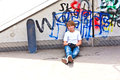 Boy with skate board at the skate park Royalty Free Stock Photo