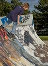 Boy at the Skate Park Royalty Free Stock Photo
