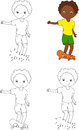 Boy on a skateboard. Vector illustration. Coloring and dot to do Royalty Free Stock Photo