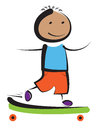 Boy skateboarder smiling playing with skateboard Stock Photography