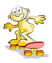 Boy skateboarding conceptual illustration about fun entertainment and exercise enjoying his skateboard Stock Photos