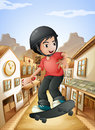 A boy skateboarding near the saloon bars illustration of Royalty Free Stock Photos