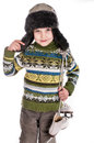Boy with skates, insulated background Royalty Free Stock Photography