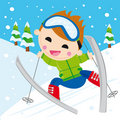 Boy skiing Stock Photos