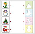 Boy skiing, snowman, Christmas fir and Santa Claus. Educational