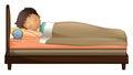 A boy sleeping with an alarm clock