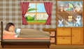 A boy sleeping in his bedroom illustration of Royalty Free Stock Image