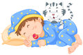 Boy sleeping with little cat Royalty Free Stock Photo