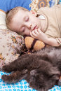 Boy sleeps with cat young and sleeping on bed at home Royalty Free Stock Photography