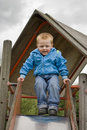 Boy on a Slide Royalty Free Stock Photo
