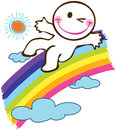 Boy slider on rainbow smile and the cartoon design Royalty Free Stock Photo